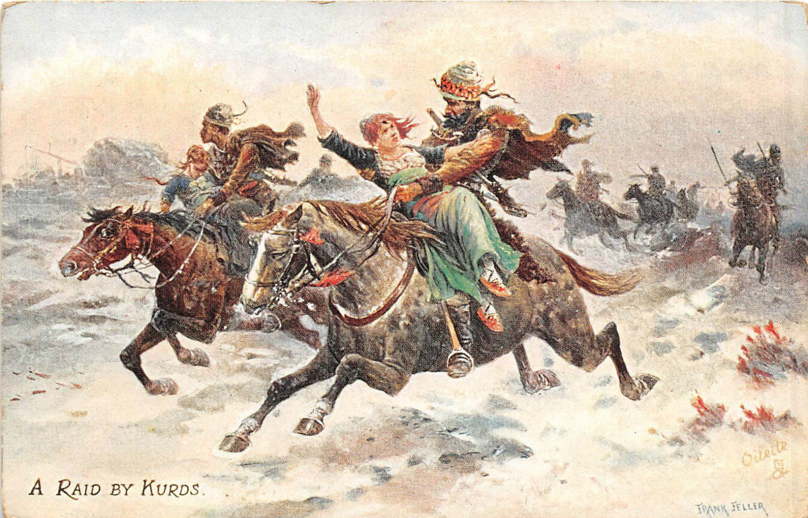 Antique Postal Card by Frank Feiler - A Raid by Kurds - Tucks Serie Life in Caucasus, 1850